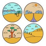 Landscape round design concept. Flat line nature view collection. vector illustration