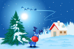 Landscape with rudolph. The reindeer and little house Royalty Free Stock Images