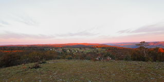 Rugged region panoramic view at sunset Royalty Free Stock Photos