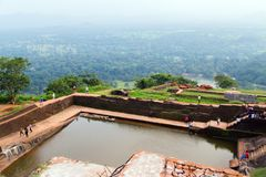 Landscape of ruin Royal Pools, Lion Rock Sigiriya, Attractions S. Landscape of ruin Royal Pools, Lion Rock Sigiriya, Attractions water cistern on top of the Rock Royalty Free Stock Image