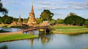 Landscape with ruins of ancient Wat. Ayutthaya Royalty Free Stock Photography