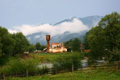 Landscape. With ruins of industrial buildings in ukrainian mountains Royalty Free Stock Photo