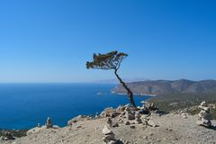 Landscape from ruins of Monolithos castle on the Rhodes island, Greece. royalty free stock photo