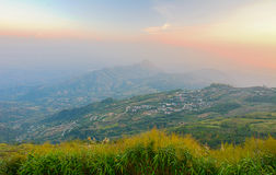 Landscape of rural city in moutain at  sunset time  - Phu thap b Stock Images