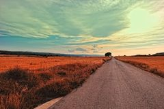 Landscape with rural road in Spain. Royalty Free Stock Photos
