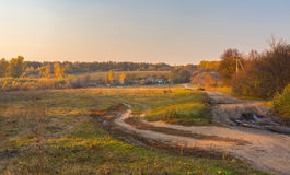 Landscape in rural village at fall season, Sumskaya oblast, Ukrane Stock Images