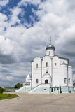 Landscape with the Russian Orthodox Church and cloudy sky. Russi Royalty Free Stock Image