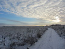 landscape russian village winter Στοκ Εικόνες