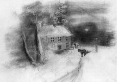 landscape russian village winter διανυσματική απεικόνιση