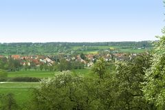 Spring scenery in Hohenlohe. Landscape at s pring time in Hohenlohe (Southern Germany) at spring time Royalty Free Stock Photography