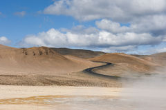 Landscape with s shaped road and geothermal mudpots, Hverir, Namafjall, Iceland Stock Photo