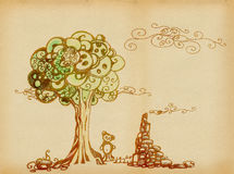 Landscape with a sad teddy. Under the tree and ruins stock illustration