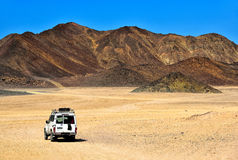 Landscape of Sahara desert. With jeeps for safari royalty free stock images