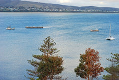 Landscape of sailboats near the Granite Island, Victor Harbor,  South Australia , Australia Royalty Free Stock Image