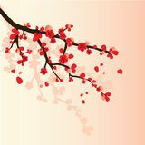 Landscape with sakura branch Stock Photography