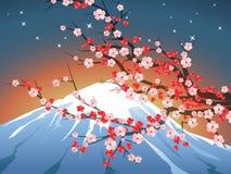 Landscape with sakura and Fuji Stock Photos