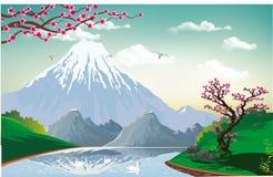 Landscape - Sakura on the river Bank. Royalty Free Stock Image