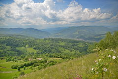 Landscape of Salciua village from Romania at spring Royalty Free Stock Photo