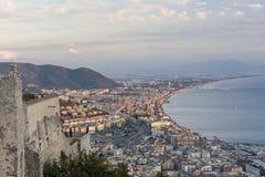 Landscape of Salerno, Campania, ITALY at sunset-sunrise royalty free stock photo