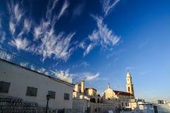 Landscape of Salesian Church in Bethlehem. Tower of Salesian Church in Bethlehem, Christmas time Stock Images