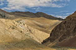 Landscape, Salmon Idaho. The rugged, rocky pastel colored hills outside Salmon, Idaho, a prosperous mining and livestock area, and the starting point for float stock photo