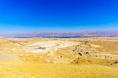 Landscape and salt evaporation ponds. In the Dead Sea, in the northern Arava valley, southern Israel Royalty Free Stock Image