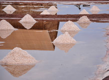 People working on salt field in Cambodia Royalty Free Stock Photos