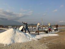 Landscape of salt fields in Ninh Hoa, Vietnam Royalty Free Stock Images