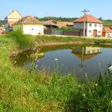 Landscape in Salt lake Ocna Sibiului, near Sibiu Hermanstadt, Transylvania. Ocna Sibiului, German: Salzburg, is a town in the centre of Sibiu County, in Stock Image
