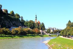 Landscape of Salzburg. View to the river. Clear blue sky Royalty Free Stock Photography