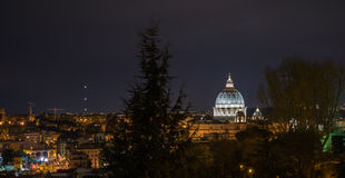 Landscape of San Peter and Rome by night Royalty Free Stock Images
