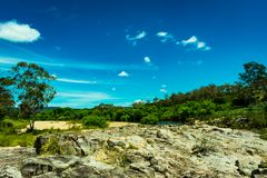 Landscape; sand, stone, and the Shoalhaven River near Braidwood Stock Photo