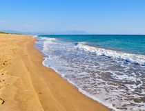 Kaiafas beach, Greece. Landscape of sandy Kaiafas beach in Greece royalty free stock photo