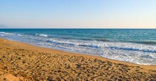 Kaiafas beach, Greece. Landscape of sandy Kaiafas beach in Greece stock photos