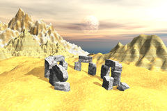 Landscape sandy stone monument scene. 3D rendering of a fictional landscape with ancient stone vestige architecture, mountain and sea background. Mysterious Royalty Free Stock Photos