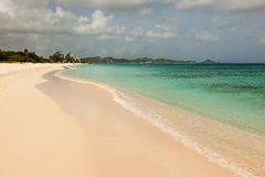 Landscape of Sandy Tropical Caribbean Beach Royalty Free Stock Photos
