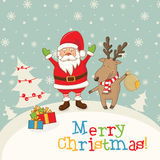 landscape with Santa Claus and deer,gifts and snowflakes. Stock Images