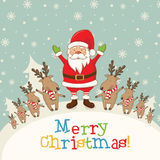 Landscape with Santa Claus and deers,gifts and snowflakes Royalty Free Stock Photos