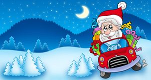 Landscape with Santa Claus driving car Stock Photography