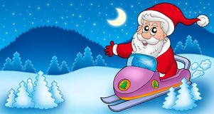 Landscape with Santa Claus on scooter Royalty Free Stock Photo