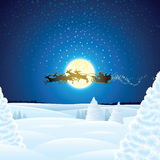 Landscape with Santa Sleigh Royalty Free Stock Photo