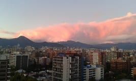 Landscape Santiago. Santiago de Chile. Vista a las montañas en un atardecer. Se aprecian edificios nuevos y nubes de color morado Royalty Free Stock Photo