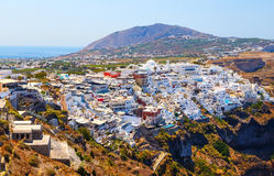 Landscape Santorini Island, view from top on Fira town, Cyclades, Greece Royalty Free Stock Images