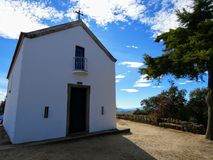 Chapel of Sao Leonardo da Galafura. The landscape from Sao Leonardo da Galafura viewpoint in Douro Valley is one of the most beautiful sights of all the Douro royalty free stock images