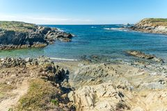 Landscape of sardinian coast. Of Coscia di donna, in north-west Sardinia, in a sunny day, sea, blue, travel, water, summer, nature, sardegna, mediterranean royalty free stock photography