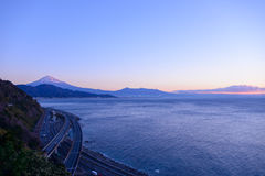 Landscape of the Satta pass at dawn in Shizuoka, Japan Royalty Free Stock Images
