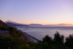 Landscape of the Satta pass at dawn in Shizuoka, Japan Royalty Free Stock Photography