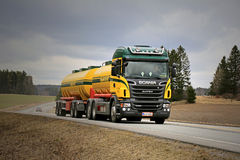 Landscape of Scania R500 Tank Truck on The Road Royalty Free Stock Photography