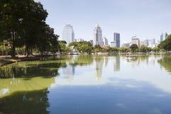 Landscape scene of beautiful Lumphini public park important land. Mark in heart of Bangkok Thailand stock photos