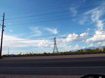 Landscape scene obscured by power lines Stock Photography